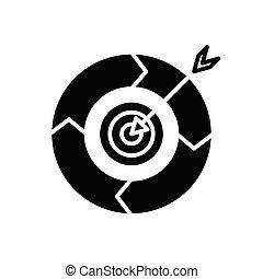 cel, wektor, czarnoskóry, symbol, glyph, pojęcie, poznaczcie., ikona, ilustracja, uderzyć, płaski