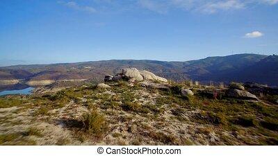 cela, flug,  portugal, aus, Luftaufnahmen, Wüste, steinig