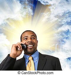 cela, obchodník, mluvící, telefon