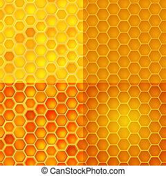 celas, padrão, pentes, seamless, mel, vetorial