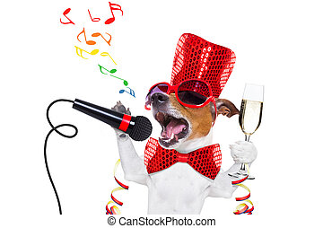 celberation, feliz, año, nuevo, perro