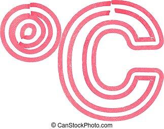 celcius, astratto, fatto, pennarello, simbolo, rosso