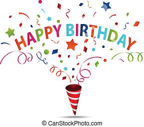 celebração aniversário, com, confetti