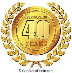 celebração, aniversário, ouro, ícone