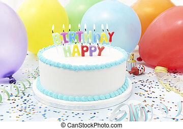 celebração, bolo, com, velas, soletrando, feliz aniversário