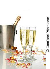celebração, com, champanhe