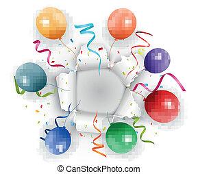 celebração, com, confetti