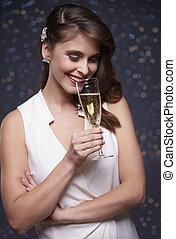 celebração, com, um, vidro champanhe