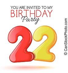 celebração, convite, cartão, 22, anos
