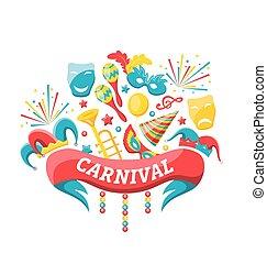 celebração, festivo, bandeira, para, feliz, carnaval