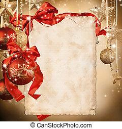 celebração natal, tema, com, em branco, papel, para, texto