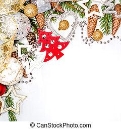 celebração natal, vida, com, livre, espaço, para, texto, isolado, branco, fundo