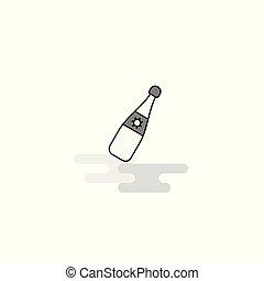 celebración, bebida, tela, icon., línea plana, llenado, gris, icono, vector