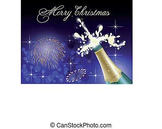 celebración, con, champaña