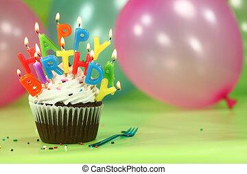 celebración, con, globos, velas, y, pastel