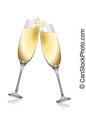 celebración, con, vino