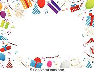 celebración cumpleaños, elementos
