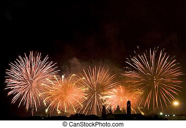 celebración, fuego artificial