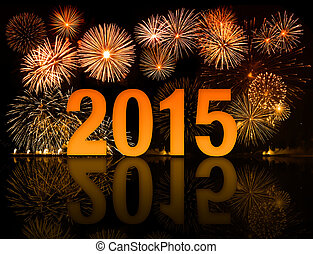 celebración, fuegos artificiales, año, 2015