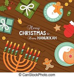celebración, navidad feliz, alegre, hanukkah