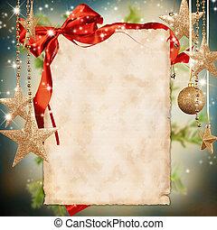 celebración navidad, tema, con, blanco, papel, para, texto
