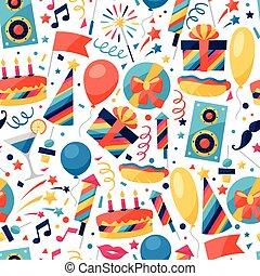 celebración, seamless, patrón, con, fiesta, iconos, y,...