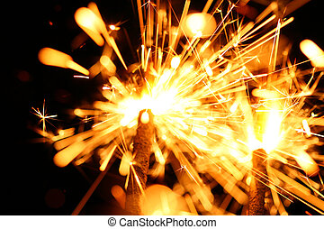 celebración, sparklers