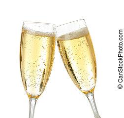 celebración, tostada, con, champaña