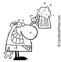 celebrando, cerveja, quartilho, homem