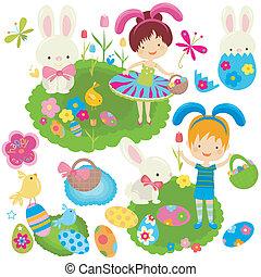 celebrando, crianças, páscoa, feliz