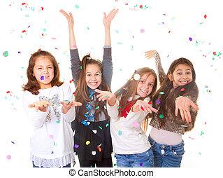 celebrando, crianças, partido