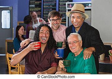 celebrando, diverso, homens