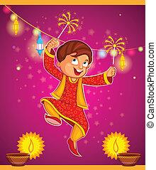 celebrando, diwali, desfrutando, firecracker, criança