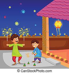 celebrando, diwali, desfrutando, firecracker, crianças