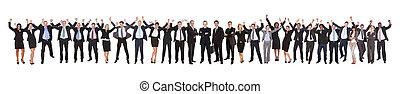 celebrando, excitado, sucesso, businesspeople