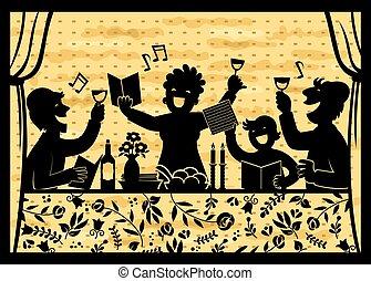 celebrando, família, passover