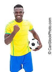 celebrando, jogador, futebol, amarela, ganhe