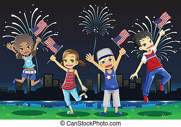 celebrando, julho, crianças, quarto