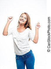 celebrando, mulher, dela, sucesso, feliz