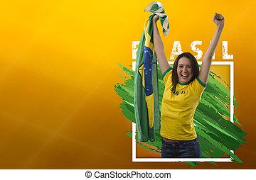 celebrando, mulher, ventilador, brasileiro