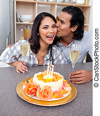 celebrando, par, romanticos