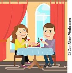 celebrando, par, sentando, tabela