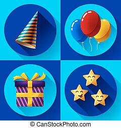 celebrando, partido aniversário, vetorial, apartamento, ícone, set.