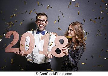celebrando, tiro, estúdio, ano novo