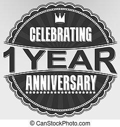 celebrar, 1, años, aniversario, retro, etiqueta, vector,...