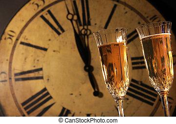 celebrar, año nuevo, con, champaña
