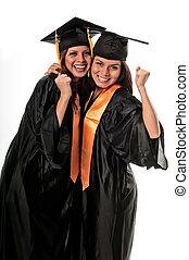 celebrar, amigos, graduación