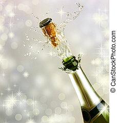 celebrar, concepto, explosion., champaña
