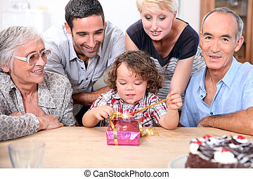 celebrar, cumpleaños, familia , juntos