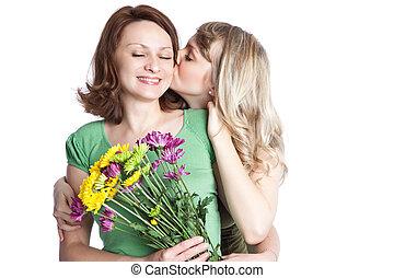 celebrar, día, madre, madre, hija